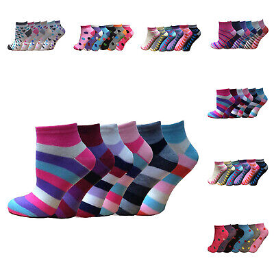 12 Pairs Women Ladies Girls Coloured Designs Plain Trainer Liner Ankle Socks 4-7