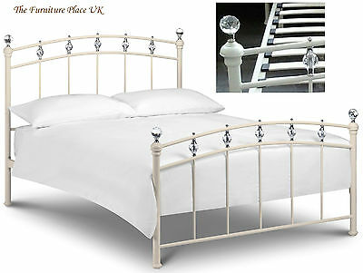 Sophie Bed Frame Single Double King In Stone White Cream With Crystal Finials