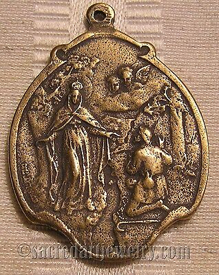 Our Lady of Mercy Catholic Medal Pendant Sterling or Bronze Antique #604
