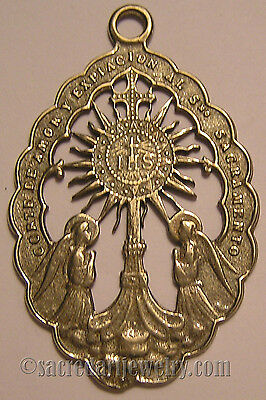 Catholic Medal Pendant Monstrance Angels Sterling Silver Bronze #657