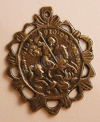 Medal Pendant St George Dragon Spain bronze or sterling Antique Replica 179