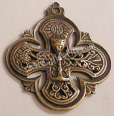 Catholic Medal Pendant Chalice Sterling Silver Bronze Antique Replica #1143