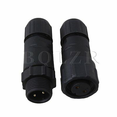 M14 IP68 Waterproof  2 Pins Electrical Cable Connector Plug Socket