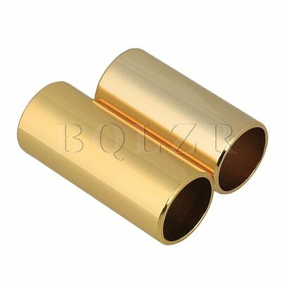 2 Size Stainless Steel Gold plate Guitar String Finger Slides Slide Cylinder