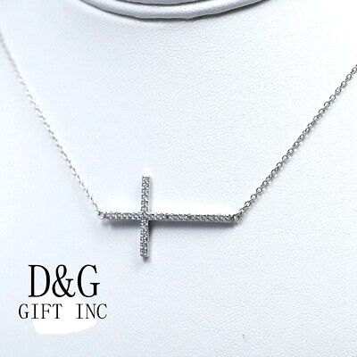 "DG Womens Sterling Silver.925.Sideway CROSS 25mm CZ Pendant.16-17""Necklace*Box"