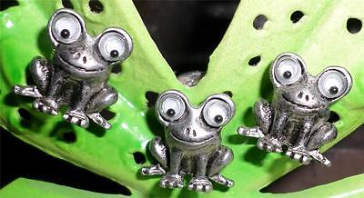 Cute Googly Eyed Pewter Frog Earrings w/Matching Pin Nice JJ? LOOK H