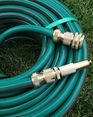 "Rubber Garden Water Hose 20M PREMFLEX 12MM - 1/2"" Brass Fittings Double Walls"