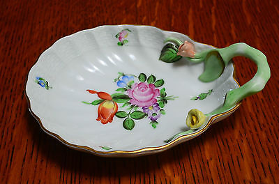 RARE! Herend Printempts Shell Shaped Handled Dish W/Roses By The Handle