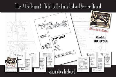 "Atlas/Craftsman 6"" Metal Lathe 101.21200 Service Manual Parts Lists Schematics"