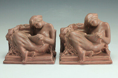 """Rookwood Pottery Bookends """"The Reader"""" in mauve or rose color, c 1920"""