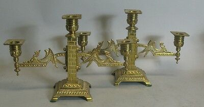 Rare Pair of W M Tonks Aesthetic Style Candelabra c. 1880  Griffin & Brass