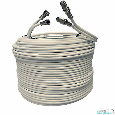 15m White Twin Shotgun Satellite Coaxial Extension Cable Lead 4 Sky Plus HD TV