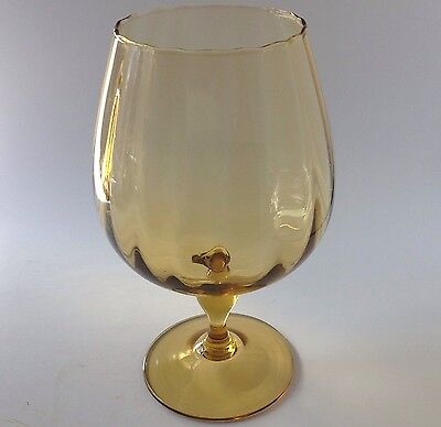Vtg Italian Hand Blown Ribbed Art Glass Brandy Snifter Compote Gold Amber Italy