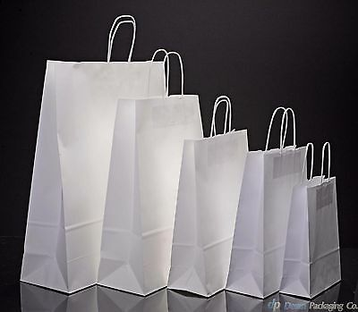 White Kraft Paper Carrier Bags With Twisted Handles