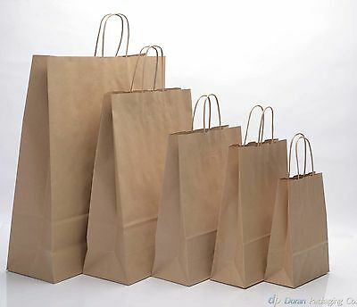 Brown Kraft Paper Carrier Bags With Twisted Handles
