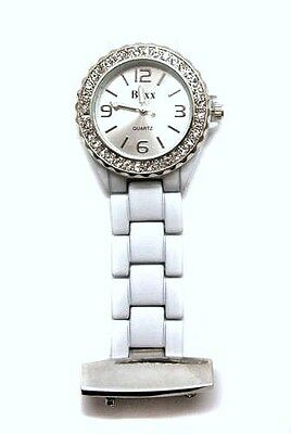 Personalised White & Chrome Beauticians or Nurses Fob Quartz Watch Engraved Gift