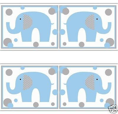 Blue Grey Elephant Polka Dot Wallpaper Border Wall Decals Boy Stickers Art Decor