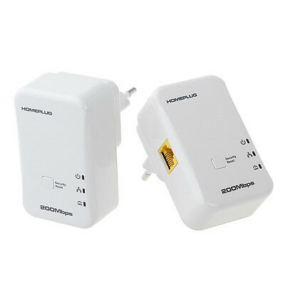 2X 200Mbps Mini Homeplug Network Extender AV Powerline Adapter Kit Ethernet