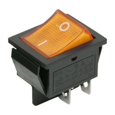 09029 Mains Snap-In Illuminated Rocker Switch 15A 250V 4PIN DPST OFF-ON I-O Sign
