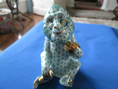 HEREND SITTING BABOON, GREEN FISHNET, BRAND NEW, RETAIL $460