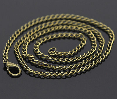 "Antique Bronze Curb Chain Necklaces with Lobster Clasp - 18"" 20"" 24"" 26"""