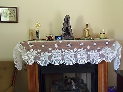 New White Lace Angel Design Mantel Scarf