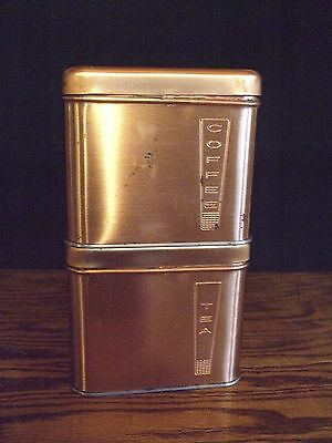 Vintage Lincoln BeautyWare Stackable Coffee & Tea Copper Canisters Mid Century