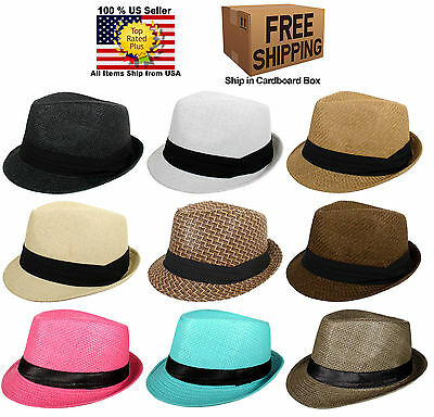 cf81a465386 New Straw Summer Fedora Trilby Cuban Style Upturn Short Brim Cap Hat Many  Colors
