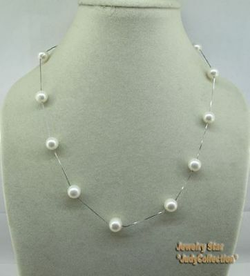 Elegant 18inch Sterling Silver Chain With White Fresh Water Pearls Necklace