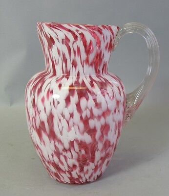 Antique 19th C. American Art Glass Pitcher  c. 1880s   Cranberry Splatter