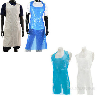 Pack of 100 - DISPOSABLE APRONS, White or Blue, Eco or Deluxe, Flat Pack, CE