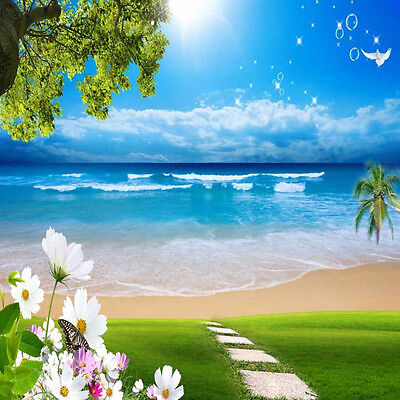 Tropical Beach 10'x10' CP Backdrop Computer printed Scenic Background XLX-466