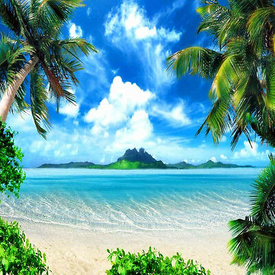 Tropical Beach 10'x10' CP Backdrop Computer printed Scenic Background XLX-461