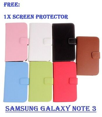 Wallet Flip Leather Case Cover Samsung Galaxy Note 3 / Note 4 / Note 5 + Free Sp
