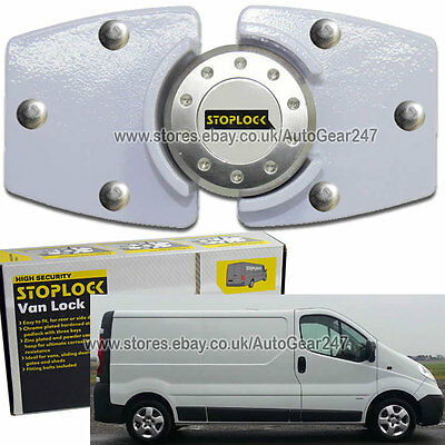 Stoplock White High Security Anti Theft Van Door Lock Hasps Padlock & 3 Keys