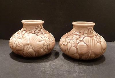 Rookwood Pair Of Brown High Gloss Vases With Clover, Shape 6352, 1944 - MINT