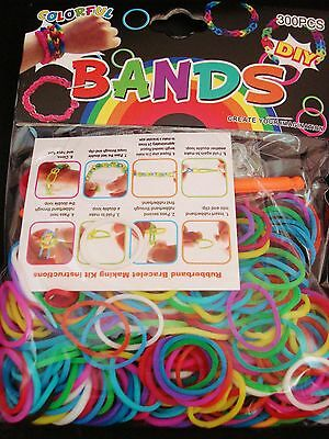 300 x BRIGHT MIX LOOM RUBBER BANDS REFILLS GIRLS CHILDRENS BRACELET FREE POSTAGE