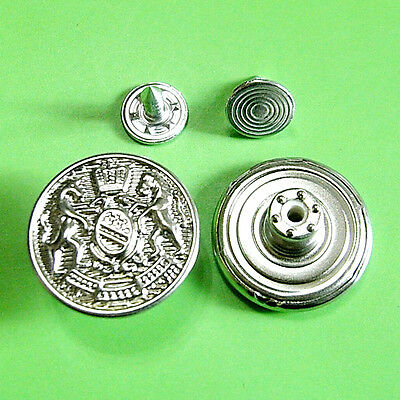 10 NO-SEW Metal Brass Jeans Tack Snaps Jacket Military Buttons 20mm Silver G195