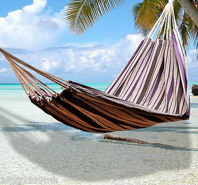 Outsunny Fabric Hanging Sleep Hammock Bed Outdoor Stripe Camping Traveling Bed