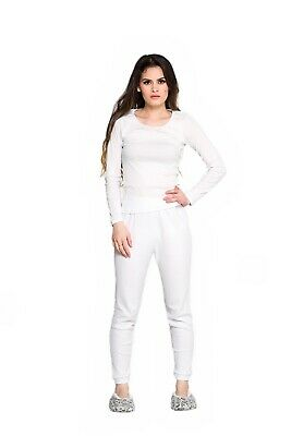 Ladies 2 Piece Set Cotton Thermal Underwear Spencer Long Sleeve & Pants White