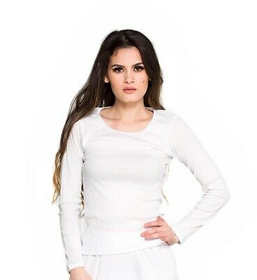 Thermals Ladies 100% Pure Cotton Thermal Spencer Long Sleeve Top White