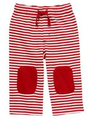 Gymboree Baby's First Holiday Red Stripe Knee Patch Knit Pants 0 3 6 12 18 Nwt