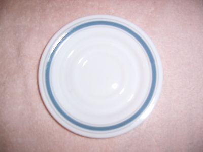 Comcor Tableware by Corning Saucer White with Grey and Blue Stripe Everyday Use