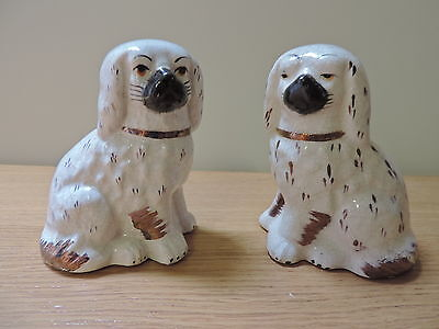 MINIATURE STAFFORDSHIRE STYLE FIRESIDE DOGS 10CM HIGH - PAIR SPANIELS