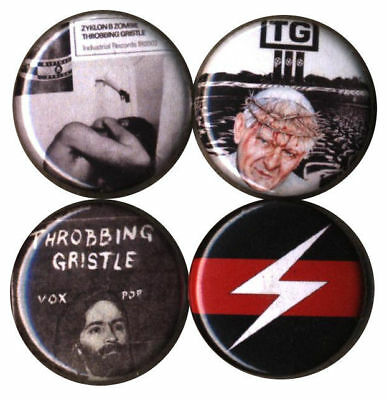 Throbbing Gristle: Set of 4 Buttons-Pins-Badges UK Industrial psychic tv