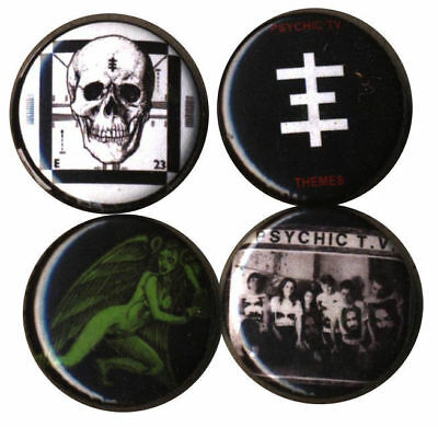 Psychic TV: Set of 4 Buttons-Pins-Badges UK Industrial throbbing gristle