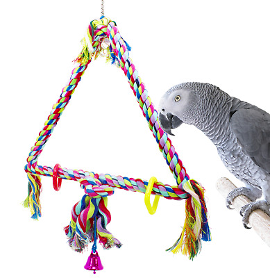 1035 Med Triangle Rope SWING BIRD TOY parrot cage toys cages conure african grey