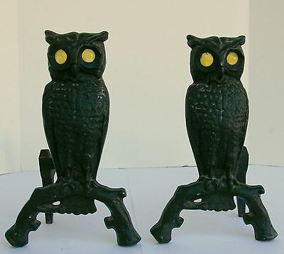 Owl Andirons Cast Iron with Glass Eyes