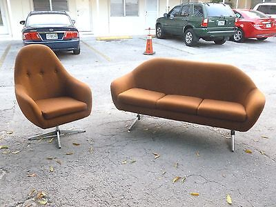 60'S OVERMAN STYLE POD SOFA AND WOMB CHAIR IN VINTAGE FABRIC SO COOL