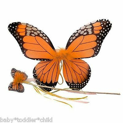 Monarch Butterfly Angel fairy wings with WAND Girls baby toddler dress party